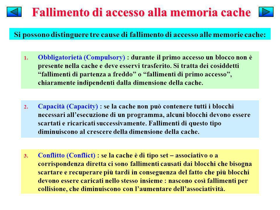 Fallimento di accesso alla memoria cache Si possono distinguere tre cause di fallimento di accesso alle memorie cache: 1. Obbligatorietà (Compulsory)