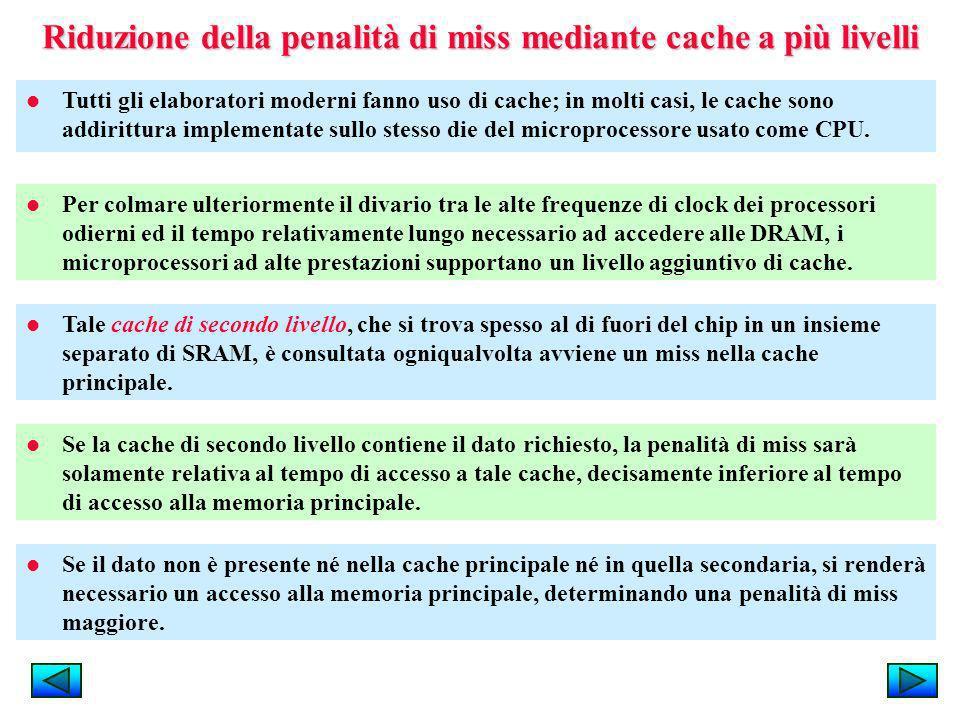 Riduzione della penalità di miss mediante cache a più livelli Tutti gli elaboratori moderni fanno uso di cache; in molti casi, le cache sono addirittu