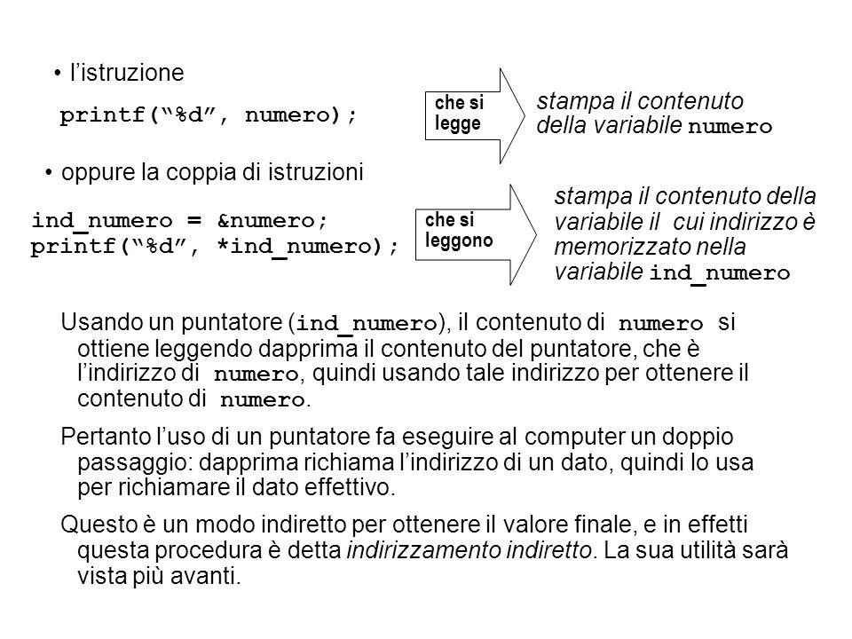 Usando un puntatore ( ind_numero ), il contenuto di numero si ottiene leggendo dapprima il contenuto del puntatore, che è lindirizzo di numero, quindi usando tale indirizzo per ottenere il contenuto di numero.
