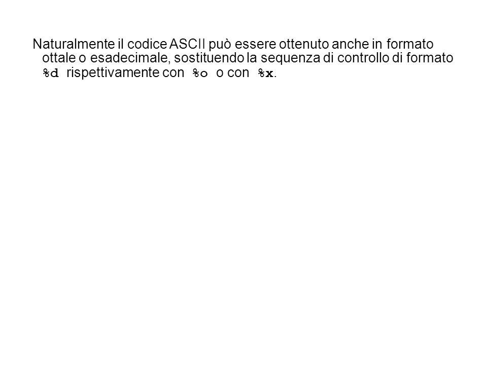 Naturalmente il codice ASCII può essere ottenuto anche in formato ottale o esadecimale, sostituendo la sequenza di controllo di formato %d rispettivamente con %o o con %x.