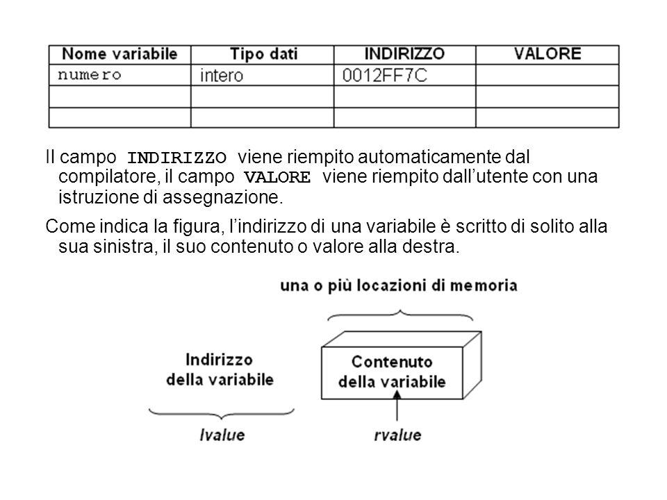 Il campo INDIRIZZO viene riempito automaticamente dal compilatore, il campo VALORE viene riempito dallutente con una istruzione di assegnazione.