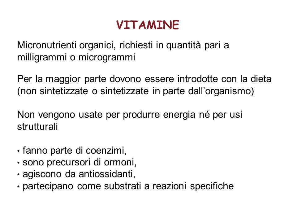 VITAMINE Micronutrienti organici, richiesti in quantità pari a milligrammi o microgrammi Per la maggior parte dovono essere introdotte con la dieta (n