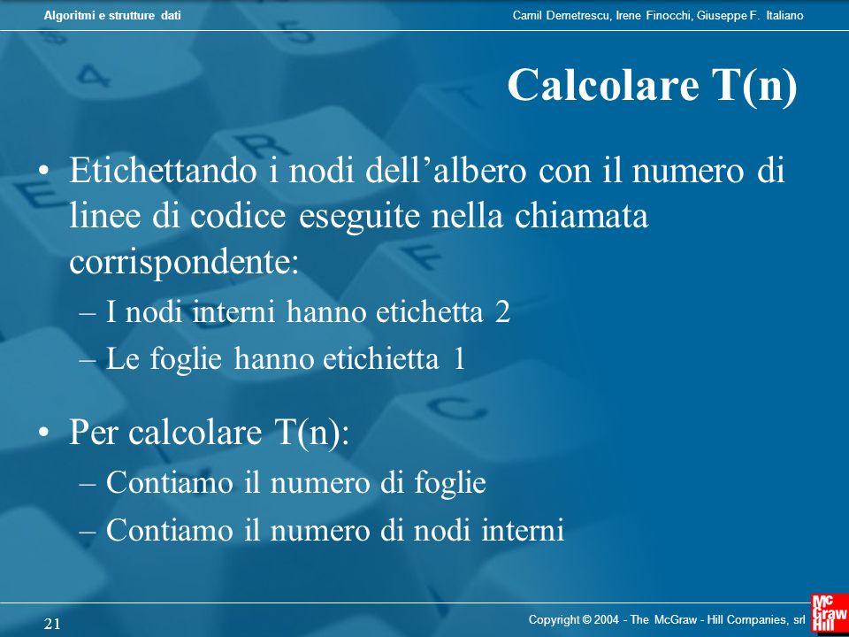 Camil Demetrescu, Irene Finocchi, Giuseppe F. ItalianoAlgoritmi e strutture dati Copyright © 2004 - The McGraw - Hill Companies, srl 21 Etichettando i