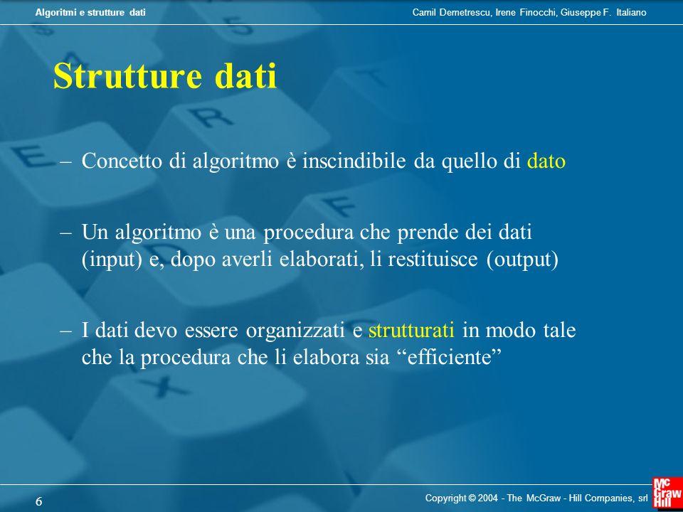 Camil Demetrescu, Irene Finocchi, Giuseppe F. ItalianoAlgoritmi e strutture dati Copyright © 2004 - The McGraw - Hill Companies, srl 6 Strutture dati