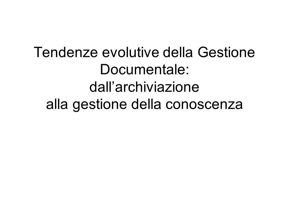 Tendenze evolutive della Gestione Documentale: dallarchiviazione alla gestione della conoscenza