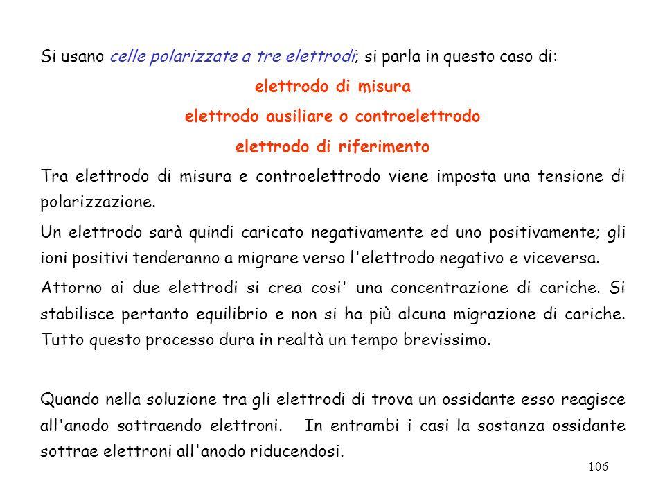 106 Si usano celle polarizzate a tre elettrodi; si parla in questo caso di: elettrodo di misura elettrodo ausiliare o controelettrodo elettrodo di rif