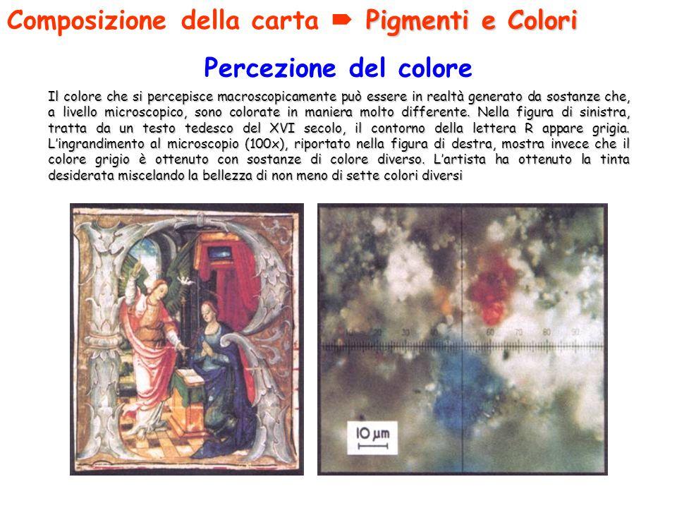 Percezione del colore Il colore che si percepisce macroscopicamente può essere in realtà generato da sostanze che, a livello microscopico, sono colora