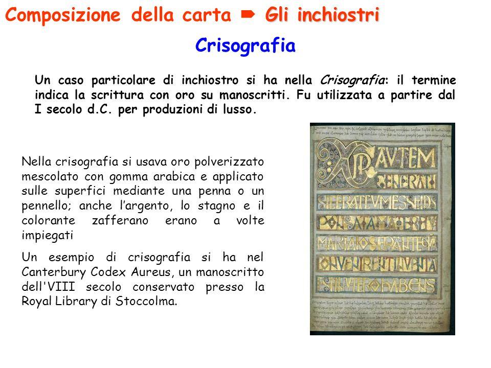 Crisografia Un caso particolare di inchiostro si ha nella Crisografia: il termine indica la scrittura con oro su manoscritti. Fu utilizzata a partire