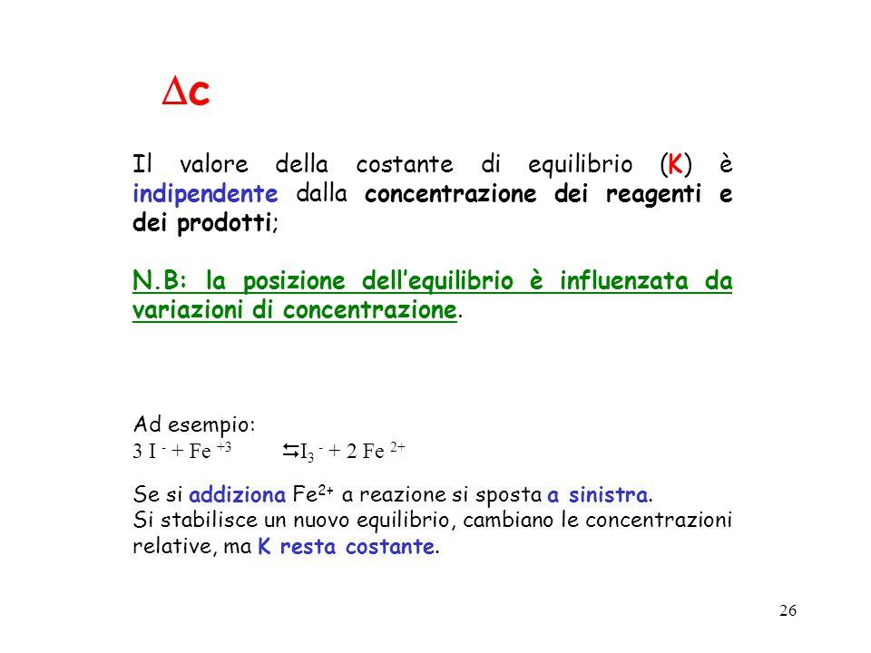 26 c Il valore della costante di equilibrio (K) è indipendente dalla concentrazione dei reagenti e dei prodotti; N.B: la posizione dellequilibrio è in