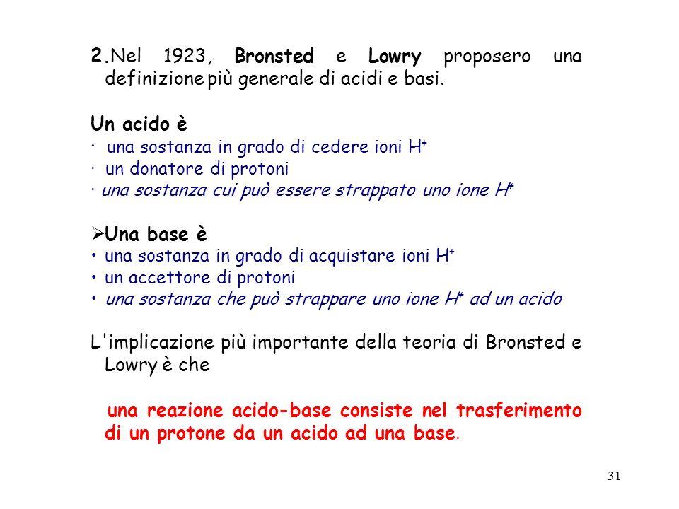 31 2.Nel 1923, Bronsted e Lowry proposero una definizione più generale di acidi e basi. Un acido è · una sostanza in grado di cedere ioni H + · un don