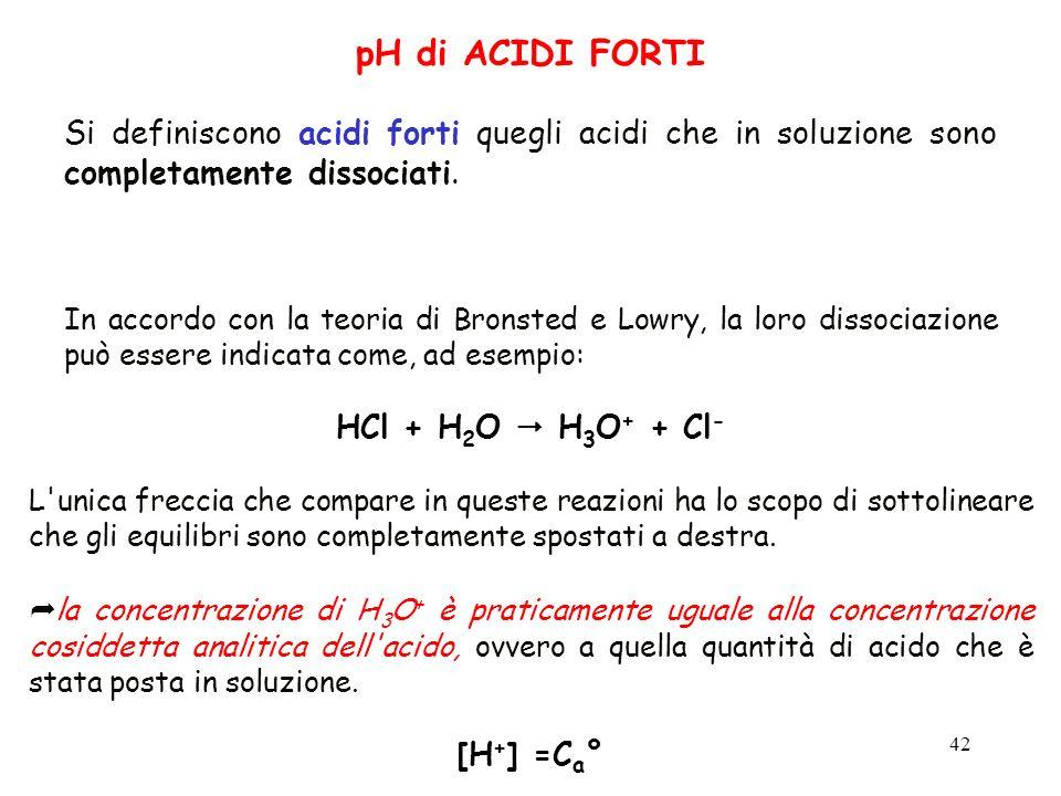 42 pH di ACIDI FORTI Si definiscono acidi forti quegli acidi che in soluzione sono completamente dissociati. In accordo con la teoria di Bronsted e Lo