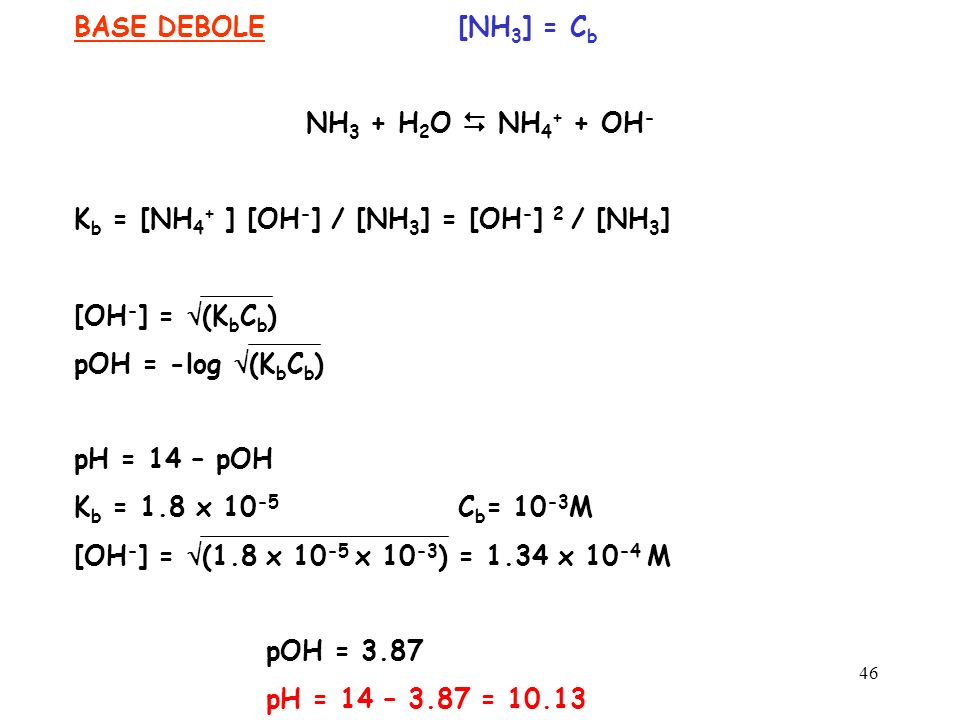 46 BASE DEBOLE[NH 3 ] = C b NH 3 + H 2 O NH 4 + + OH - K b = [NH 4 + ] [OH - ] / [NH 3 ] = [OH - ] 2 / [NH 3 ] [OH - ] = (K b C b ) pOH = -log (K b C
