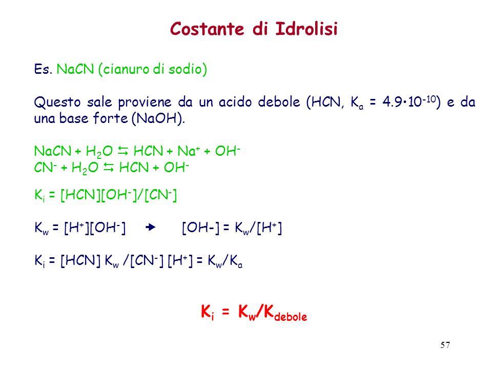 57 Costante di Idrolisi Es. NaCN (cianuro di sodio) Questo sale proviene da un acido debole (HCN, K a = 4.910 -10 ) e da una base forte (NaOH). NaCN +