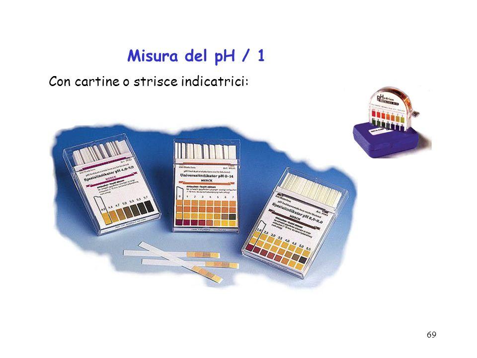 69 Misura del pH / 1 Con cartine o strisce indicatrici:
