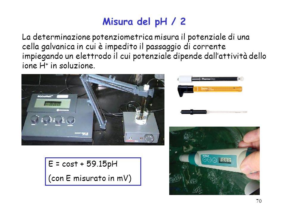 70 E = cost + 59.15pH (con E misurato in mV) Misura del pH / 2 La determinazione potenziometrica misura il potenziale di una cella galvanica in cui è