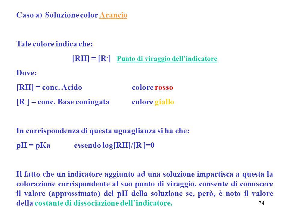 74 Caso a)Soluzione color Arancio Tale colore indica che: [RH] = [R - ] Punto di viraggio dellindicatore Dove: [RH] = conc. Acidocolore rosso [R - ] =