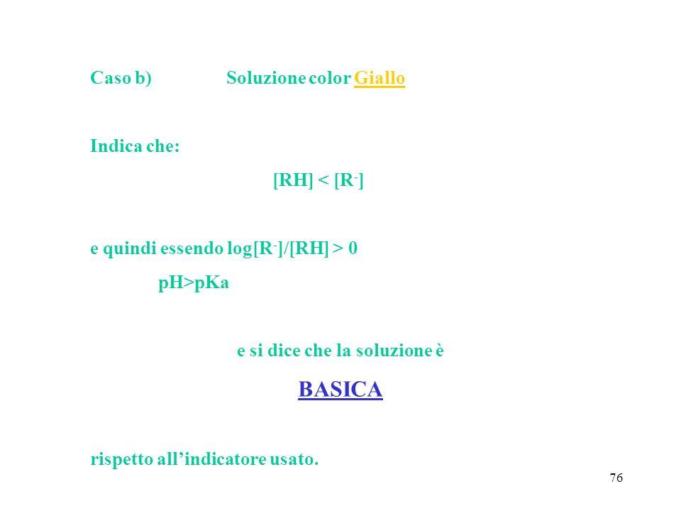 76 Caso b)Soluzione color Giallo Indica che: [RH] < [R - ] e quindi essendo log[R - ]/[RH] > 0 pH>pKa e si dice che la soluzione è BASICA rispetto all