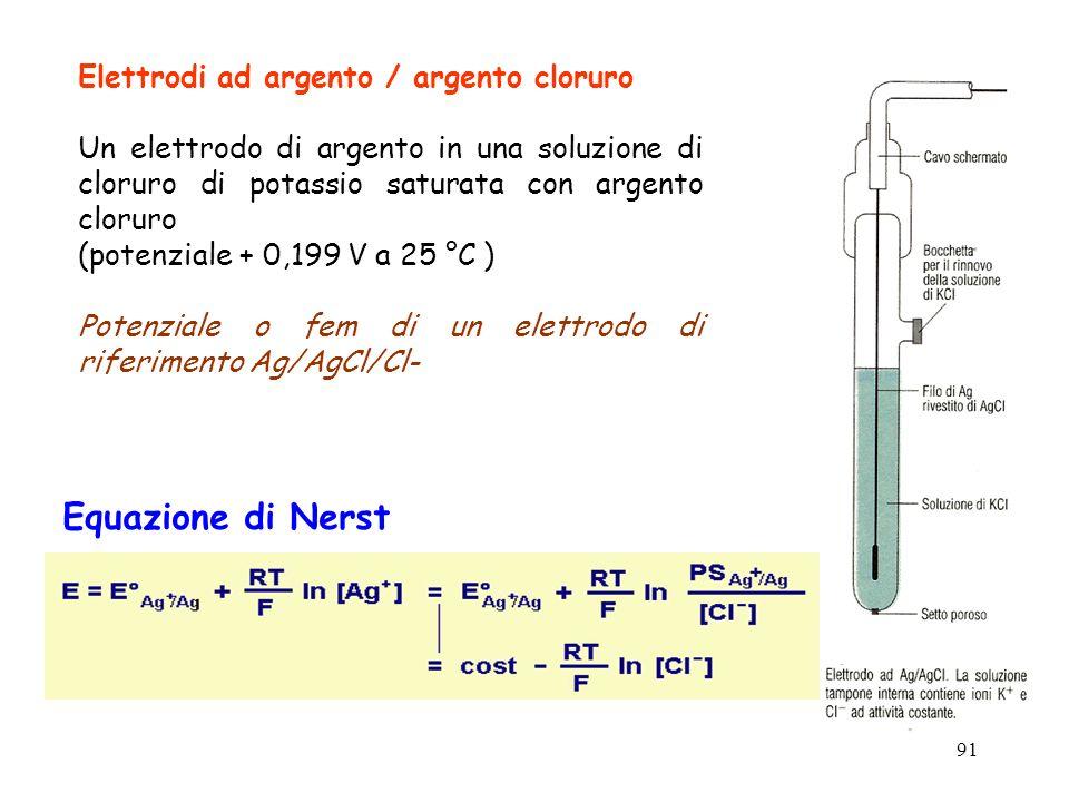 91 Elettrodi ad argento / argento cloruro Un elettrodo di argento in una soluzione di cloruro di potassio saturata con argento cloruro (potenziale + 0