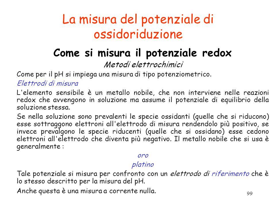 99 La misura del potenziale di ossidoriduzione Come si misura il potenziale redox Metodi elettrochimici Come per il pH si impiega una misura di tipo p