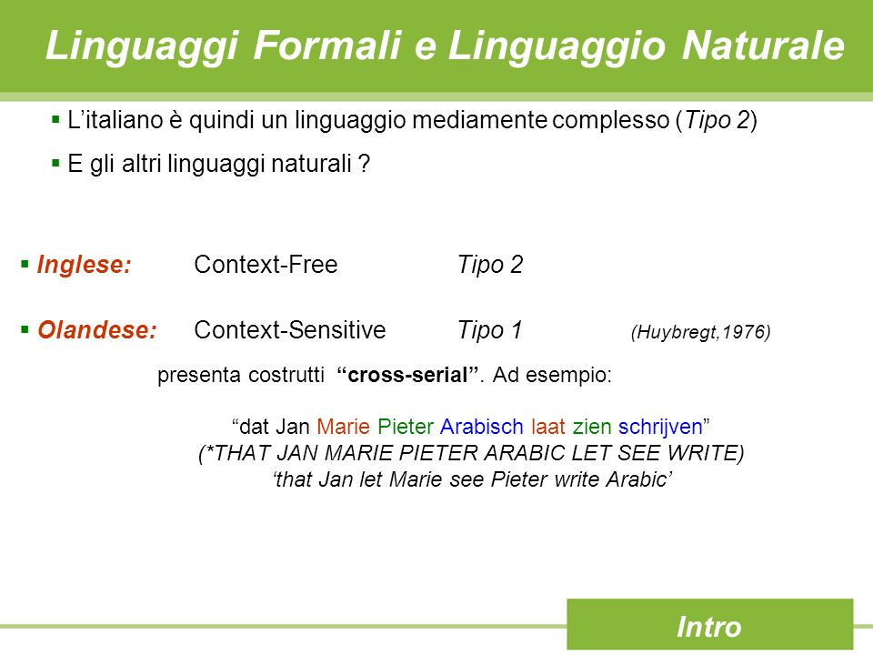 Linguaggi Formali e Linguaggio Naturale Intro Inglese: Context-FreeTipo 2 Olandese:Context-SensitiveTipo 1 (Huybregt,1976) Litaliano è quindi un linguaggio mediamente complesso (Tipo 2) E gli altri linguaggi naturali .