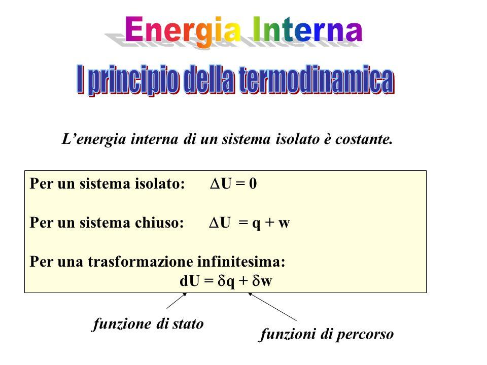 Lenergia interna di un sistema isolato è costante. Per un sistema isolato: U = 0 Per un sistema chiuso: U = q + w Per una trasformazione infinitesima: