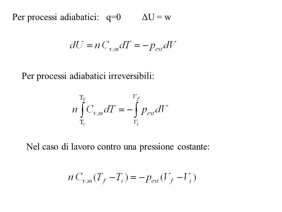 Per processi adiabatici: q=0 ΔU = w Per processi adiabatici irreversibili: Nel caso di lavoro contro una pressione costante:
