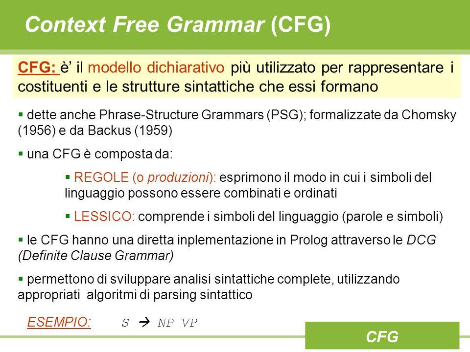 Context Free Grammar (CFG) CFG CFG: è il modello dichiarativo più utilizzato per rappresentare i costituenti e le strutture sintattiche che essi formano dette anche Phrase-Structure Grammars (PSG); formalizzate da Chomsky (1956) e da Backus (1959) una CFG è composta da: REGOLE (o produzioni): esprimono il modo in cui i simboli del linguaggio possono essere combinati e ordinati LESSICO: comprende i simboli del linguaggio (parole e simboli) le CFG hanno una diretta inplementazione in Prolog attraverso le DCG (Definite Clause Grammar) permettono di sviluppare analisi sintattiche complete, utilizzando appropriati algoritmi di parsing sintattico ESEMPIO: S NP VP
