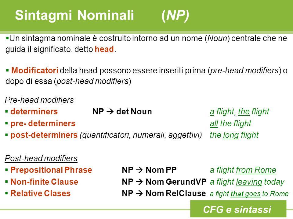 Sintagmi Nominali (NP) Un sintagma nominale è costruito intorno ad un nome (Noun) centrale che ne guida il significato, detto head. Modificatori della