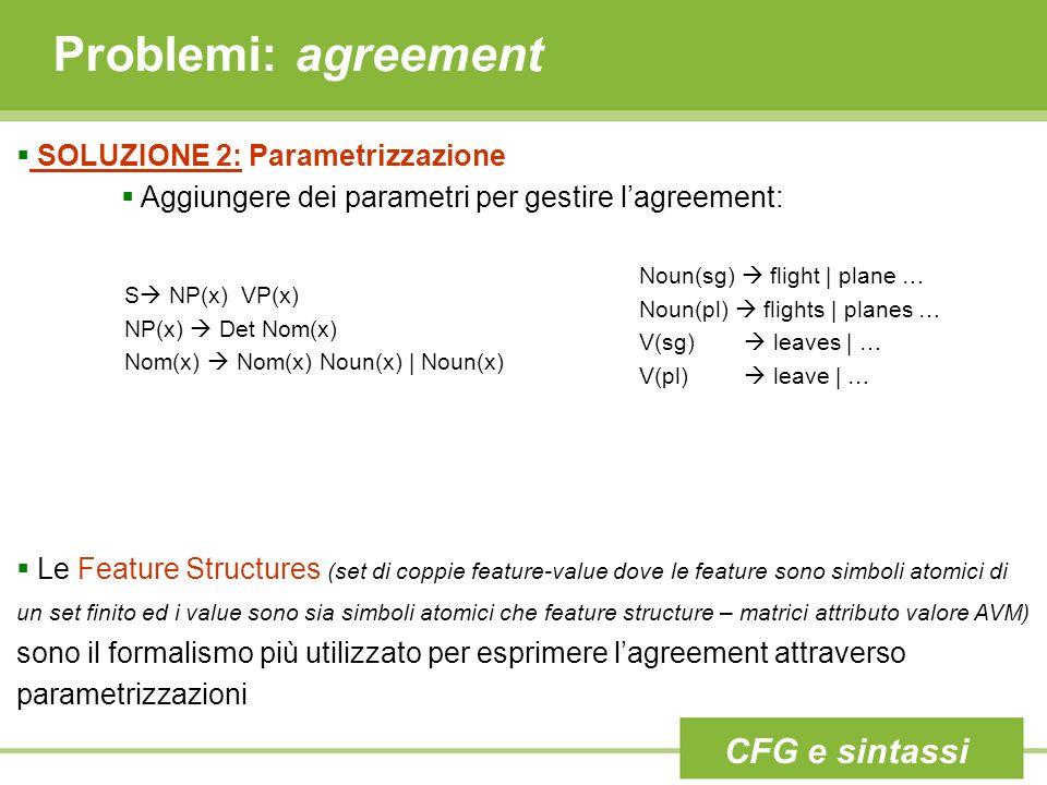 Problemi: agreement SOLUZIONE 2: Parametrizzazione Aggiungere dei parametri per gestire lagreement: Le Feature Structures (set di coppie feature-value dove le feature sono simboli atomici di un set finito ed i value sono sia simboli atomici che feature structure – matrici attributo valore AVM) sono il formalismo più utilizzato per esprimere lagreement attraverso parametrizzazioni S NP(x) VP(x) NP(x) Det Nom(x) Nom(x) Nom(x) Noun(x) | Noun(x) Noun(sg) flight | plane … Noun(pl) flights | planes … V(sg) leaves | … V(pl) leave | … CFG e sintassi