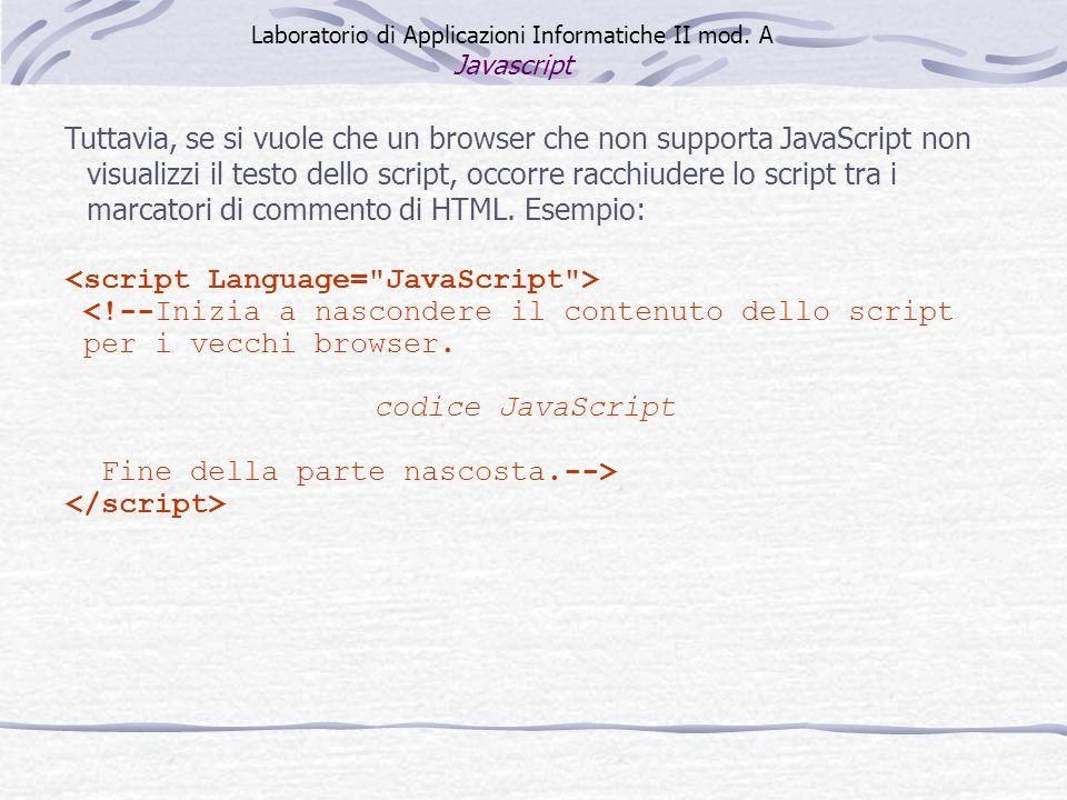 <!--Inizia a nascondere il contenuto dello script per i vecchi browser.