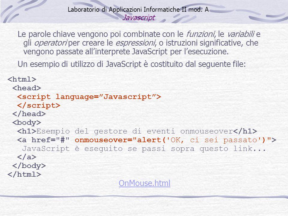Esempio del gestore di eventi onmouseover JavaScript è eseguito se passi sopra questo link... OnMouse.html Le parole chiave vengono poi combinate con