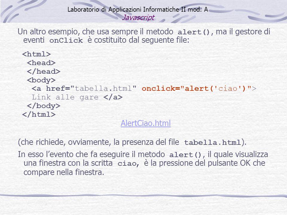 Link alle gare AlertCiao.html Laboratorio di Applicazioni Informatiche II mod. A Javascript (che richiede, ovviamente, la presenza del file tabella.ht