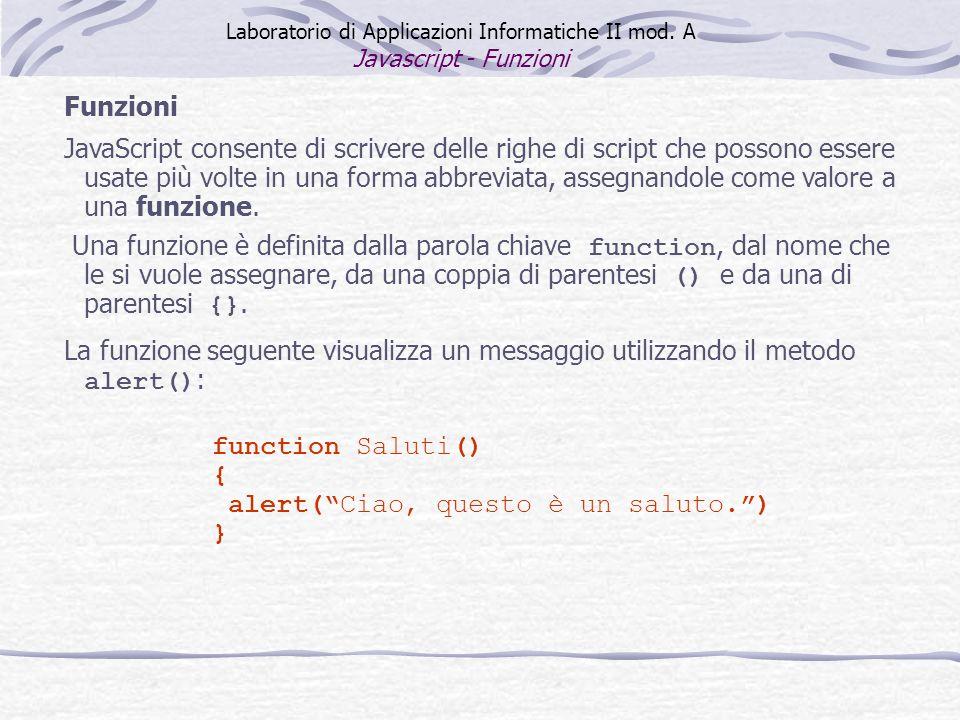 Funzioni JavaScript consente di scrivere delle righe di script che possono essere usate più volte in una forma abbreviata, assegnandole come valore a