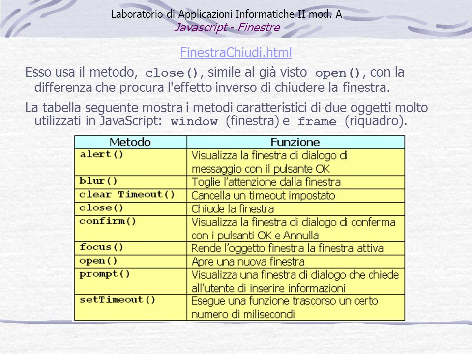 FinestraChiudi.html Esso usa il metodo, close(), simile al già visto open(), con la differenza che procura l'effetto inverso di chiudere la finestra.