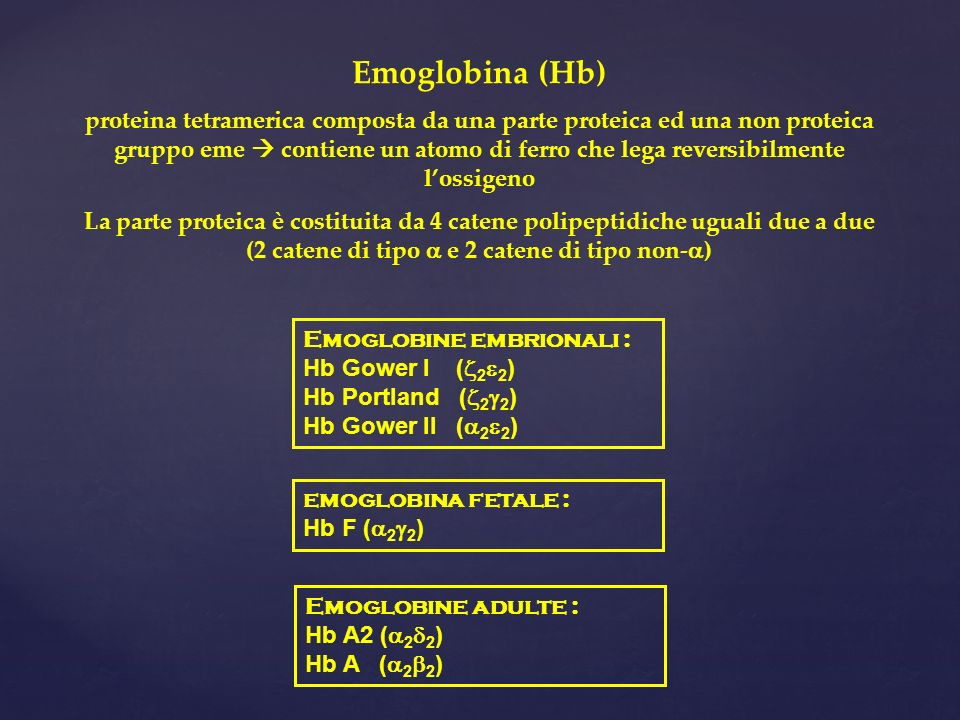 Emoglobina (Hb) proteina tetramerica composta da una parte proteica ed una non proteica gruppo eme contiene un atomo di ferro che lega reversibilmente lossigeno La parte proteica è costituita da 4 catene polipeptidiche uguali due a due (2 catene di tipo e 2 catene di tipo non- ) Emoglobine embrionali : Hb Gower I ( 2 2 ) Hb Portland ( 2 2 ) Hb Gower II ( 2 2 ) emoglobina fetale : Hb F ( 2 2 ) Emoglobine adulte : Hb A2 ( 2 2 ) Hb A ( 2 2 )
