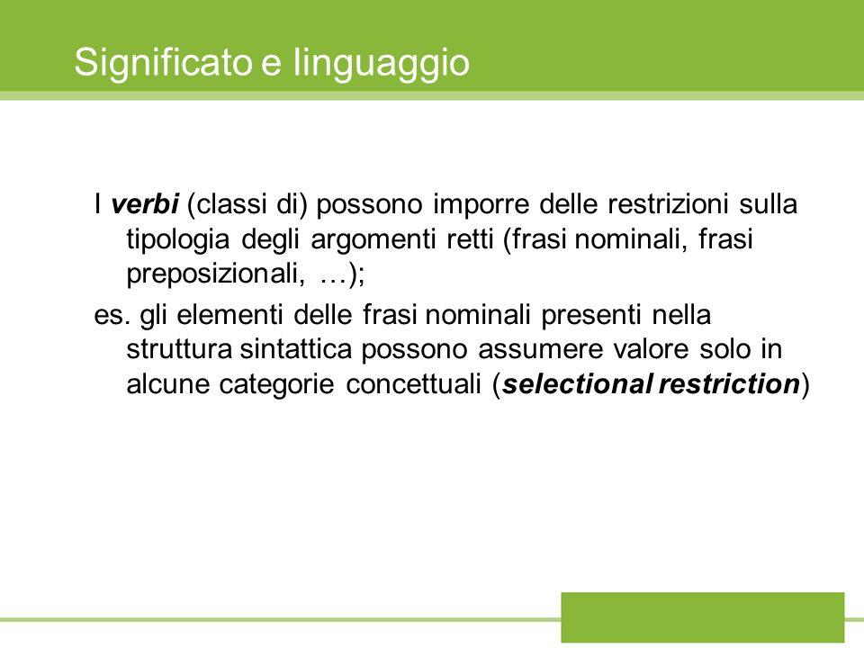 Significato e linguaggio I verbi (classi di) possono imporre delle restrizioni sulla tipologia degli argomenti retti (frasi nominali, frasi preposizionali, …); es.