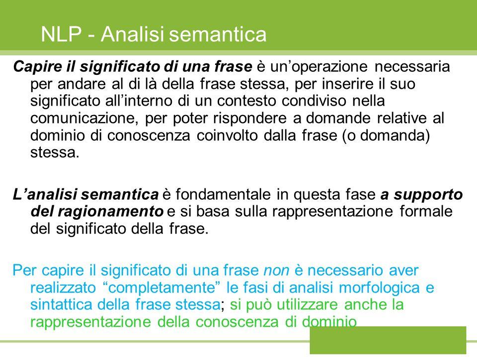 NLP - Analisi semantica Capire il significato di una frase è unoperazione necessaria per andare al di là della frase stessa, per inserire il suo significato allinterno di un contesto condiviso nella comunicazione, per poter rispondere a domande relative al dominio di conoscenza coinvolto dalla frase (o domanda) stessa.