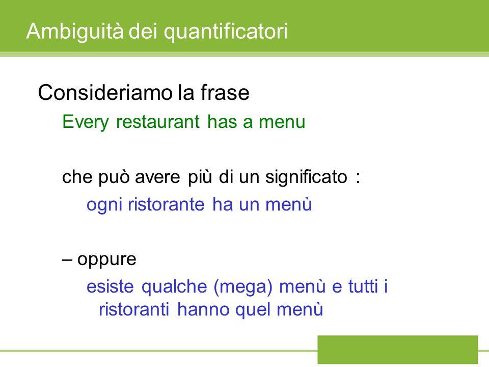 Ambiguità dei quantificatori Consideriamo la frase Every restaurant has a menu che può avere più di un significato : ogni ristorante ha un menù –oppure esiste qualche (mega) menù e tutti i ristoranti hanno quel menù