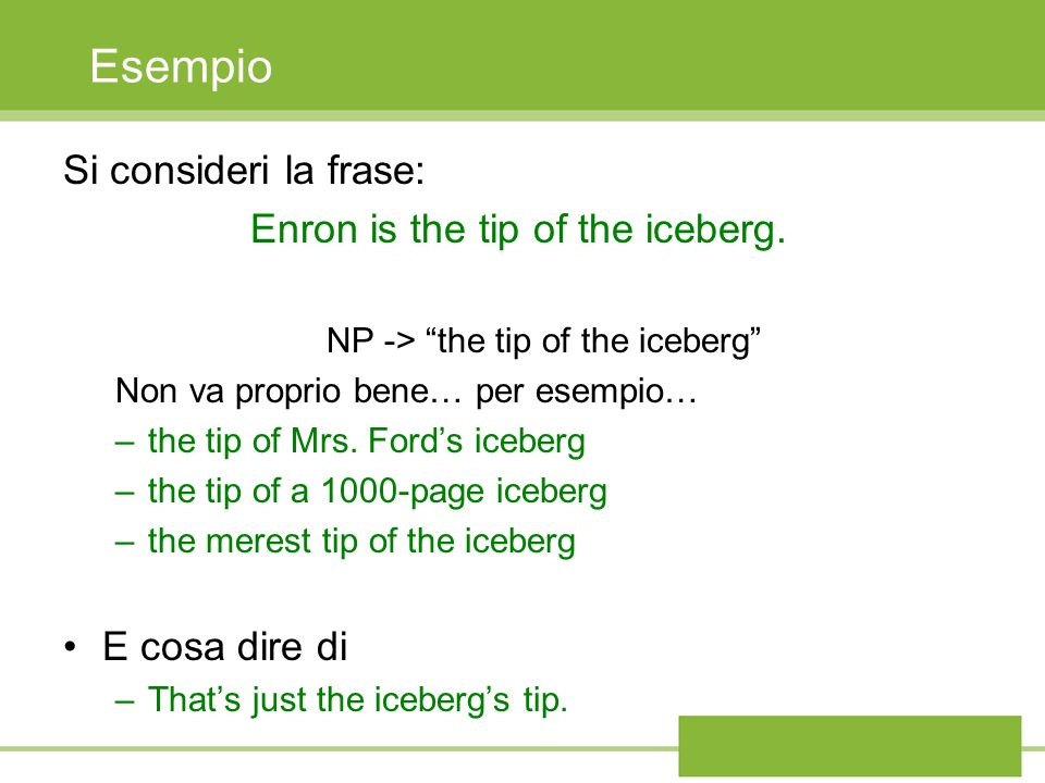 Esempio Si consideri la frase: Enron is the tip of the iceberg.