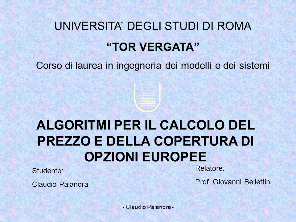 - Claudio Palandra - Opzioni: Possiamo domandarci: Cosè il premio di unopzione.