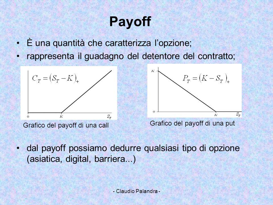 - Claudio Palandra - Payoff È una quantità che caratterizza lopzione; rappresenta il guadagno del detentore del contratto; dal payoff possiamo dedurre