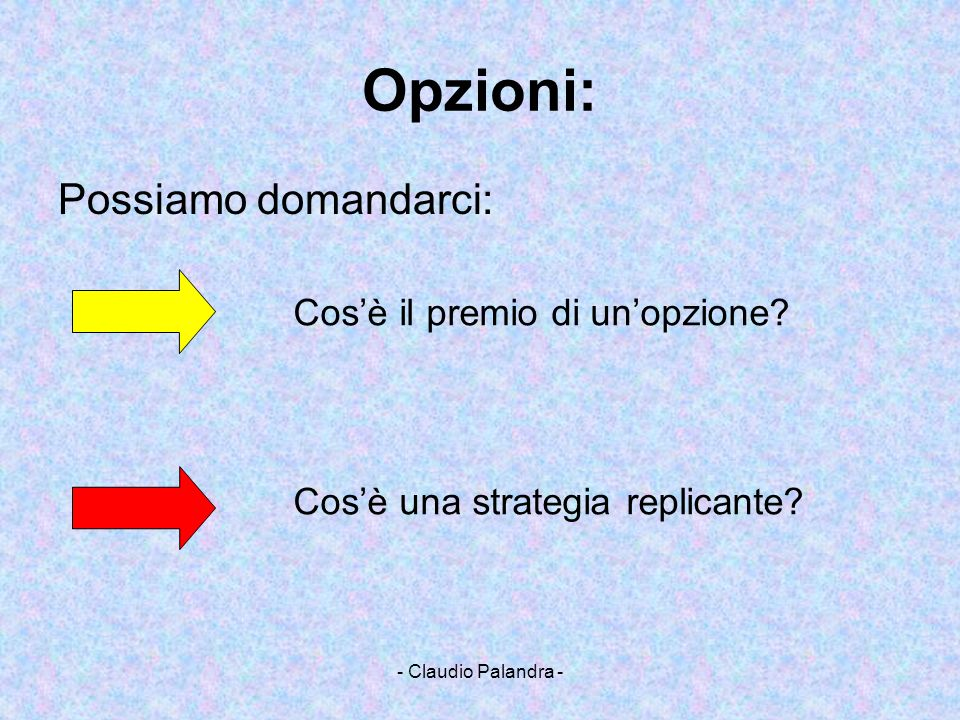 - Claudio Palandra - Opzioni: Possiamo domandarci: Cosè il premio di unopzione? Cosè una strategia replicante?