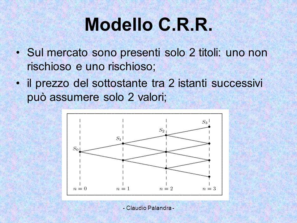- Claudio Palandra - Modello C.R.R. Sul mercato sono presenti solo 2 titoli: uno non rischioso e uno rischioso; il prezzo del sottostante tra 2 istant