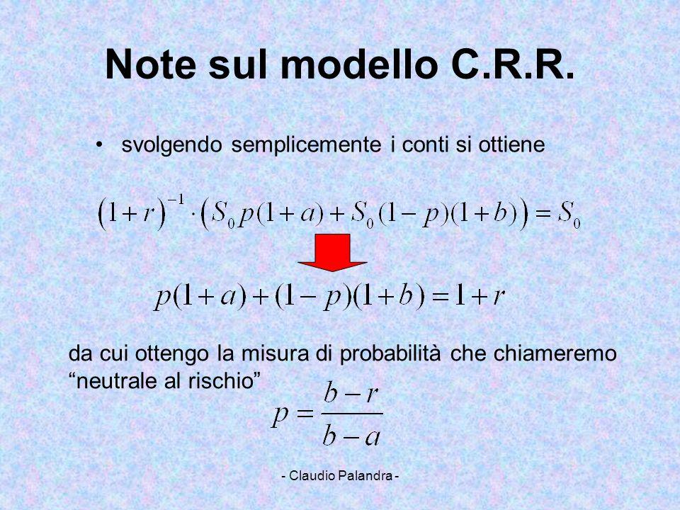 - Claudio Palandra - Note sul modello C.R.R. svolgendo semplicemente i conti si ottiene da cui ottengo la misura di probabilità che chiameremo neutral