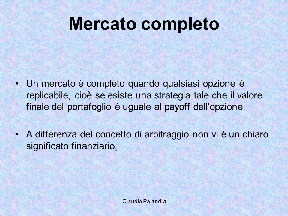 - Claudio Palandra - Mercato completo Un mercato è completo quando qualsiasi opzione è replicabile, cioè se esiste una strategia tale che il valore fi