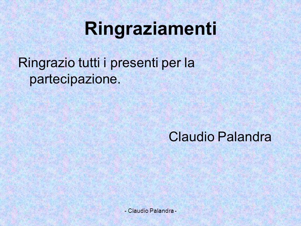 - Claudio Palandra - Ringraziamenti Ringrazio tutti i presenti per la partecipazione. Claudio Palandra