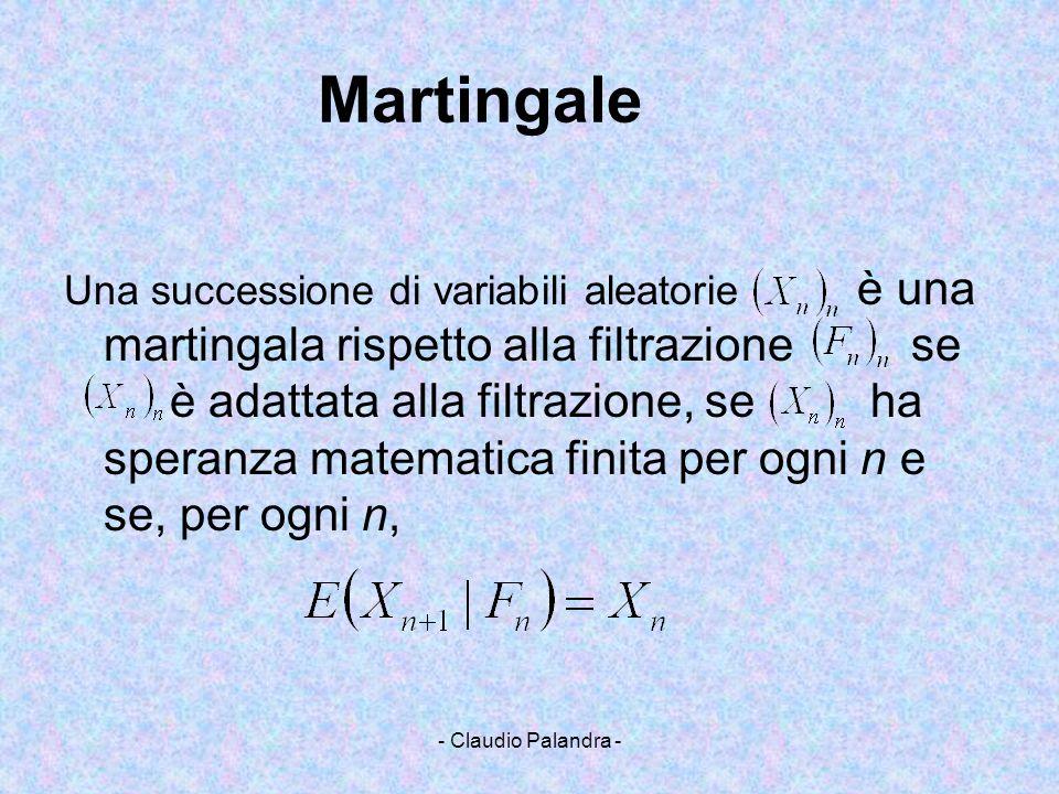 - Claudio Palandra - Martingale Una successione di variabili aleatorie è una martingala rispetto alla filtrazionese è adattata alla filtrazione, se ha