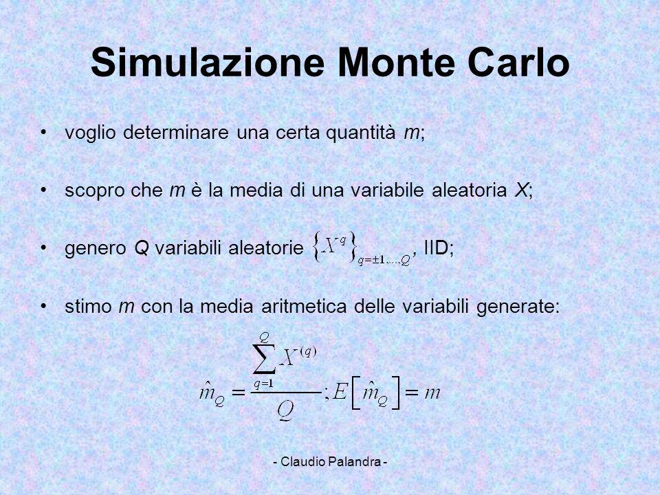 - Claudio Palandra - Simulazione Monte Carlo voglio determinare una certa quantità m; scopro che m è la media di una variabile aleatoria X; genero Q v
