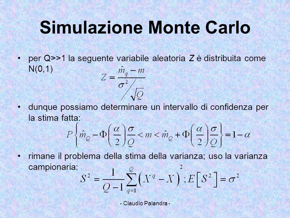 - Claudio Palandra - Simulazione Monte Carlo per Q>>1 la seguente variabile aleatoria Z è distribuita come N(0,1) dunque possiamo determinare un inter