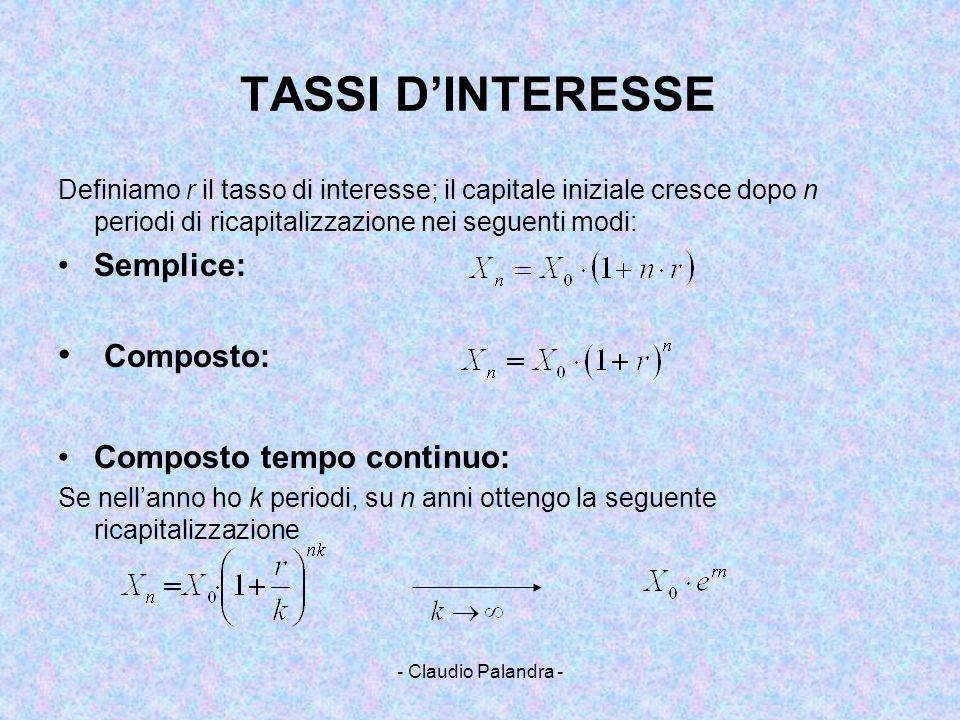 - Claudio Palandra - TASSI DINTERESSE Definiamo r il tasso di interesse; il capitale iniziale cresce dopo n periodi di ricapitalizzazione nei seguenti